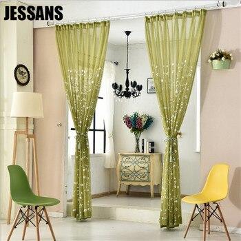 Verde Tulle cortinas para sala de estar comedor Rural coreano ...