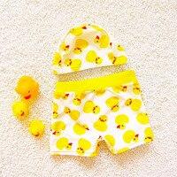 Meninos Patos Padrão Two-Piece Separa Troncos Dos Desenhos Animados Touca de Natação Ternos Bonitos 2 Peça Maiô Swimwear Do Bebê Maiô plus Size