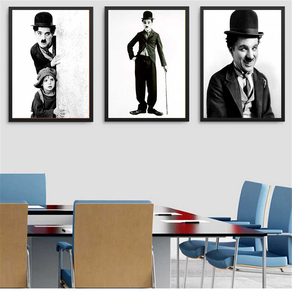 Home Decor Canvas Painting Wall Art Movie Poster Charlie Chaplin Wall Pictures for Living Room Coffee Room Decor