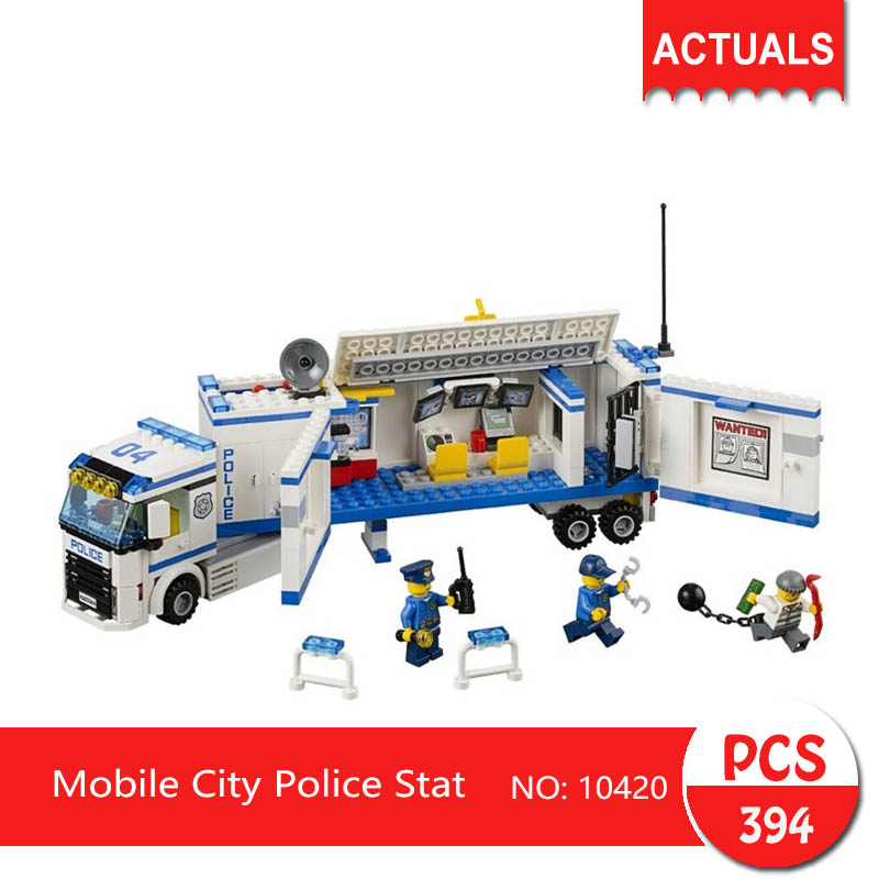 bela 10420 394Pcs City series Mobile City Police Stat Model Building Blocks  Bricks Toys For Children Gift 60032 compatible lepin city block police dog unit 60045 building bricks bela 10419 policeman toys for children 011