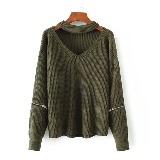 ee5cbaa68 Autumn Winter Army Green Halter Knitted Sweater Beige Sexy Pullover Women  Tops V Neck Zipper Long Sleeve Chic Jumper Pull Femme