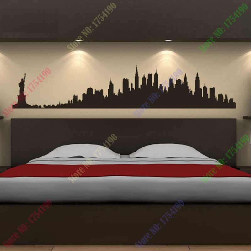 New York City Skyline Wall Stickers City Silhouette Buildings Art