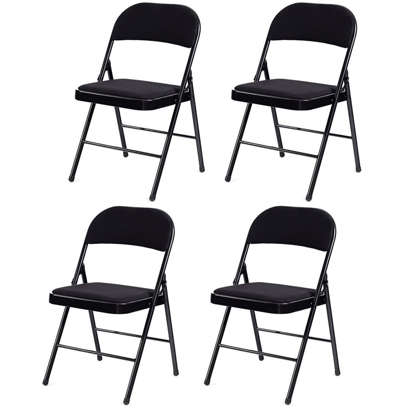 Set Of 4 Fabric Upholstered Padded Seat Metal Frame Folding Chairs Heavy-load Steel Frame Construction Chair Set HW58552