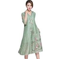 Autumn 2017 New Green Color Women Flax Dress Half Sleeve V Neck Loose Plus Size Vintage