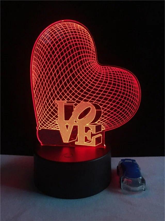 Love Heart-3D Optical Illusion lampa LED romantyczny dekoracje ślubne walentynki miłośników prezent lampa stołowa zmiana koloru lampki nocne lampa