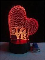 Tình yêu Trái Tim-3D Illusion Quang Đèn LED Đám Cưới Lãng Mạn trang trí nội thất Valentine Những Người Yêu Ngày Bảng Món Quà lamp sự thay đổi màu Cạnh Giường Lampa