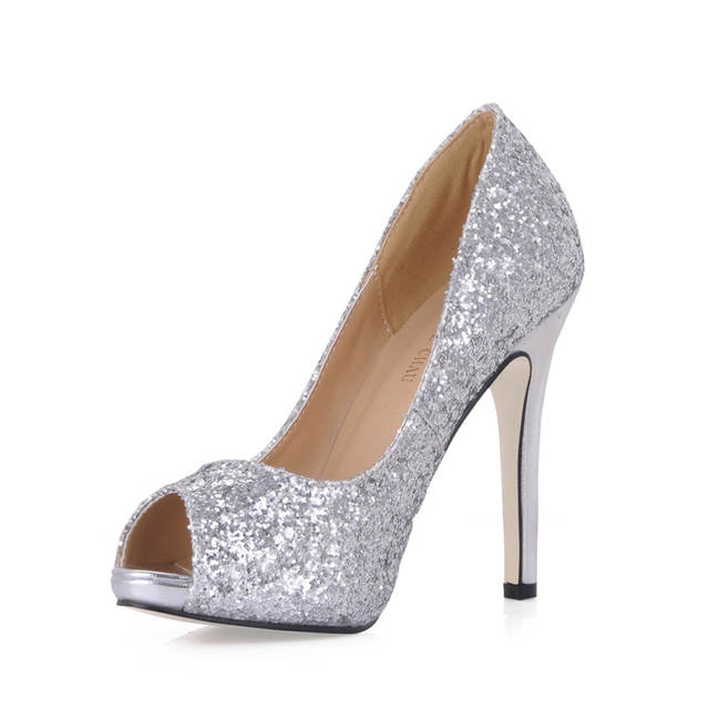 ce0dce1b48cf CHMILE CHAU Silver Glitter Sexy Wedding Party Shoe Women Peep Toe Stiletto  High Heels Dating Bridal Lady Pumps Zapatos Mujer T3-in Women's Pumps from  Shoes ...