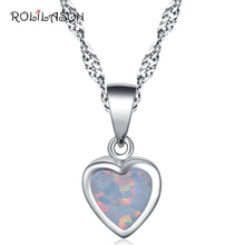 Classic gift silver 925 Sterling Silver Necklace Pendant Created white fire Opal Jewelry For Women SP17