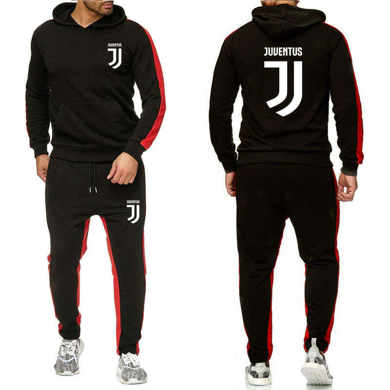 2019 The New Brand Tracksuit Fashion Men Sportswear Two Piece Sets All Cotton Fleece Thick Hoodie+Pants Sporting Suit