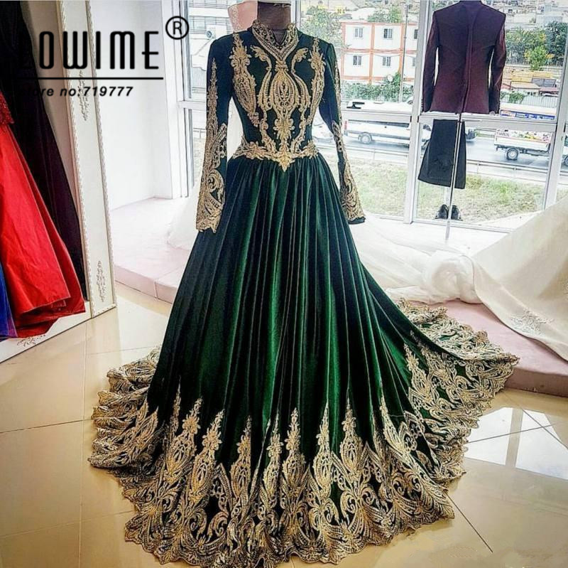 Vintage Muslim   Evening     Dress   Lace Appliqued Arabic   Dresses   With Long Sleeves Party Gowns High Neck Prom   Dresses