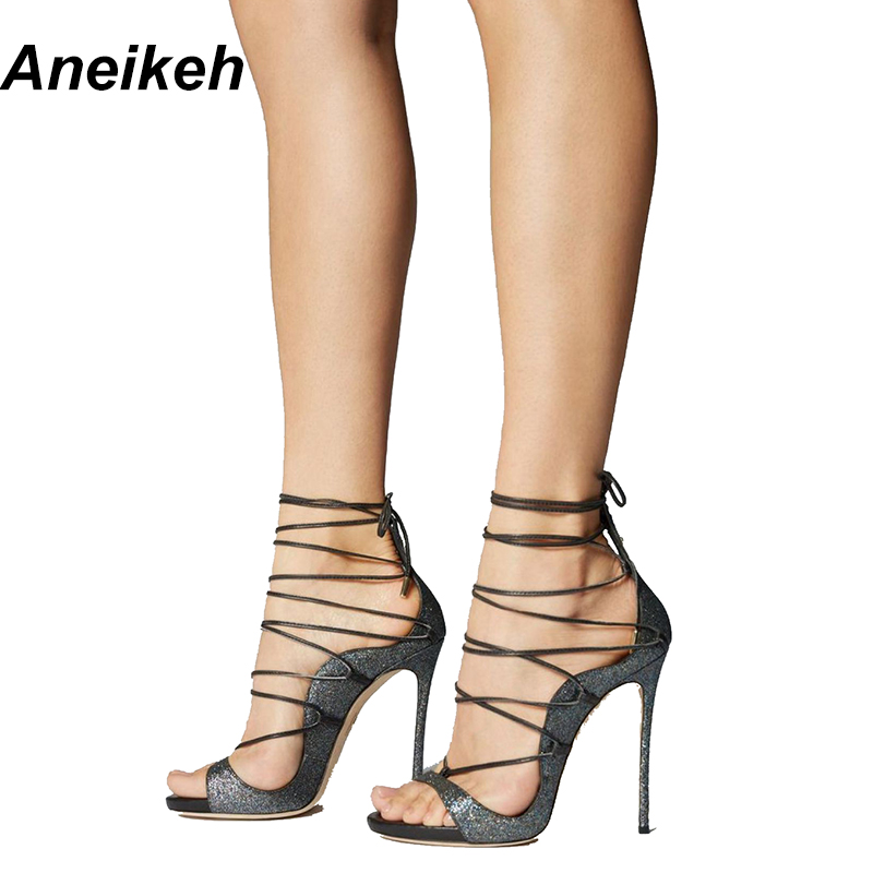 Aneikeh Summer Sandals Sexy Strappy Heels Fashion Peep Toe Black Shoes For  Cross Lace Up Women Gladiator Sandals Size 35 40-in High Heels from Shoes  on ... 607b861a9a2c