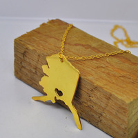 Wholesale Gold Alaska AK Necklace Personalized State Charm collier collar colar