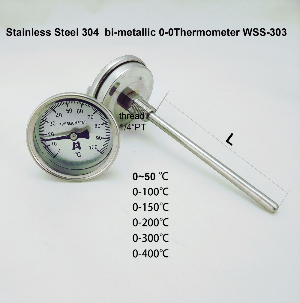 "Stainless Steel 304 bi-metallic Thermometer 0-50~300 degrees, Probe length L=100, 1/4""PT Thread WSS-303"