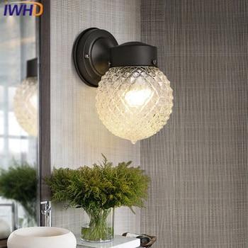 IWHD Nordic Style Glass Ball Wall Sconce Creative Iron LED Wall Light Fixtures Modern Bedroom Beside Arandela Home Lighting