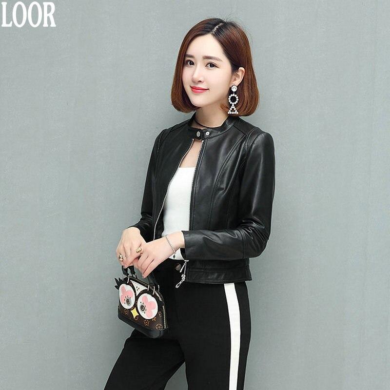 Genuine leather Sheepskin coat for women female jacket Leather Jacket for women women's leather jacket dublenka moto jacket Slim