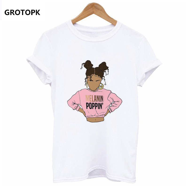 de7af17b Melanin Poppin Female T-shirt Summer Short Sleeve Aesthetic Kawaii Harajuku  Top Summer T Shirt