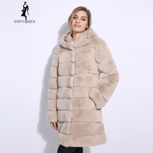 2018 Real Rex Rabbit Fur Coat Winter Natural Fur Jacket with hood and Bat Sleeve Women's Outerwear with Genuine Real Fur coat цены онлайн