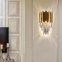 Applique murale en cristal moderne de luxe en acier inoxydable doré luminaires muraux lit salon lampes murales Lampes murales d'intérieur LED     -