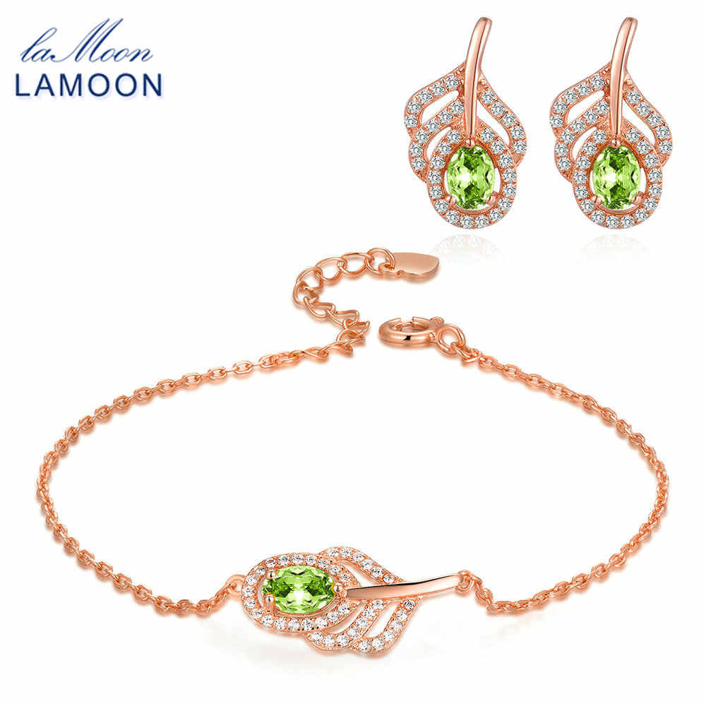LAMOON Lovely 925 Sterling Silver Natural Oval Peridot Gemstone Jewelry Sets S925 Fine Jewelry for Women Wedding Gift V045-11