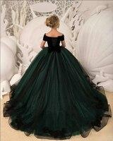 Вечерние платья Длинные 2019 элегантные пышные бальные платья с v образным вырезом с коротким рукавом черные аппликации на шнуровке сзади зел