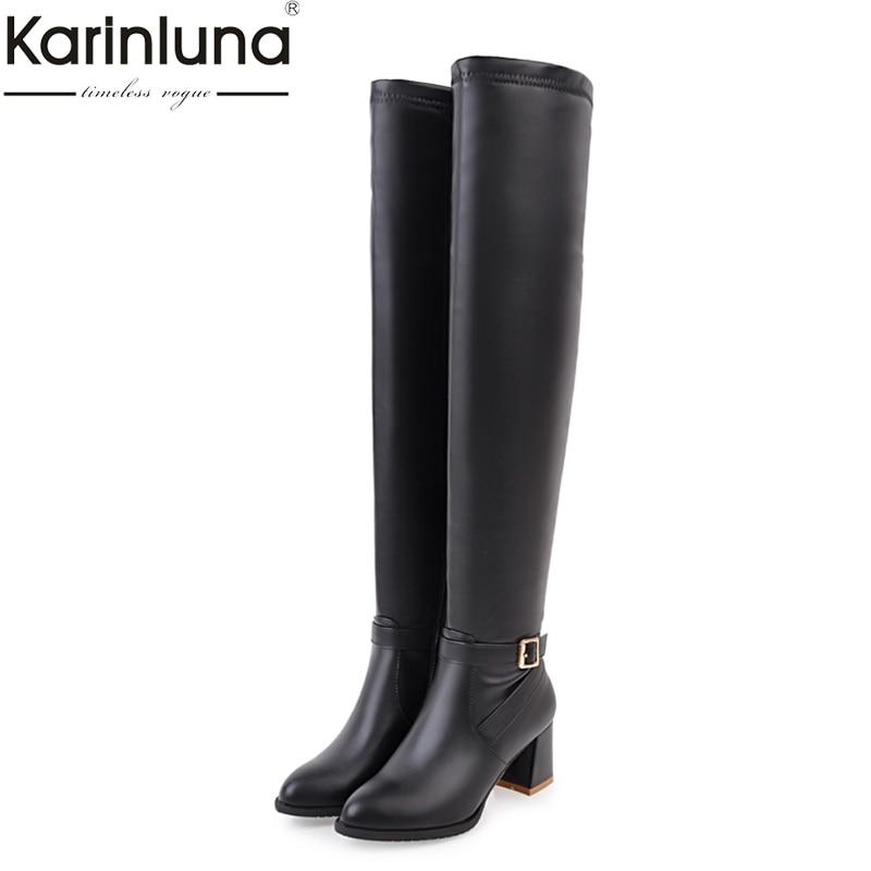 KARINLUNA di grandi dimensioni 34-45 piazza tacchi alti donna scarpe da donna stivali inverno stivali sopra il ginocchio nero bianco