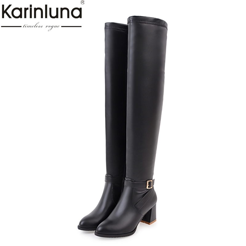 KARINLUNA large sizes 34-45 square high heels woman shoes women boots winter over the knee boots black white все цены