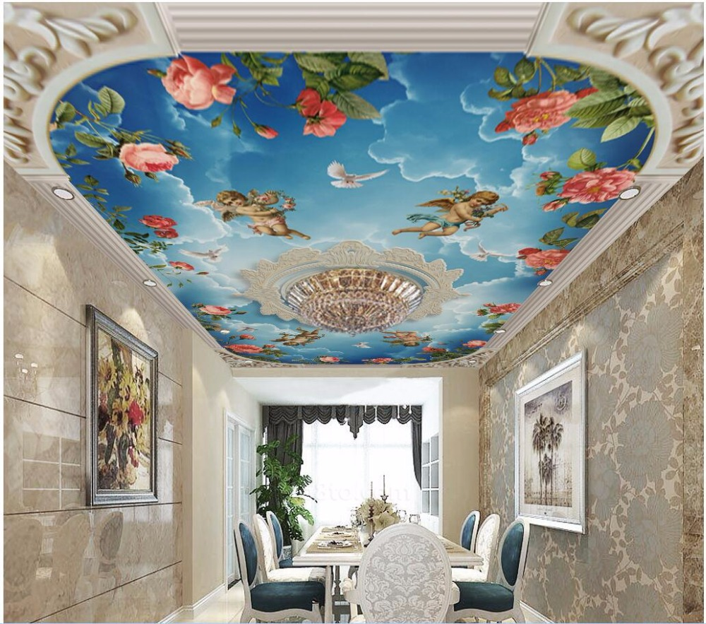 Custom photo 3d wallpaper ceiling mural European embossed sky angel roses room painting 3d wall murals wallpaper for walls 3 d custom 3d ceiling wallpaper beautiful sky maple murals for the living room bedroom ceiling wall waterproof wallpaper