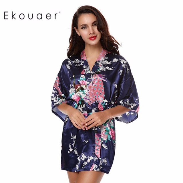 a9f62cd461 Ekouaer Women s Kimono Robes Peacock Robes Printed Floral Dressing Gown  Blossoms Silk Nightwear Short Style Satin