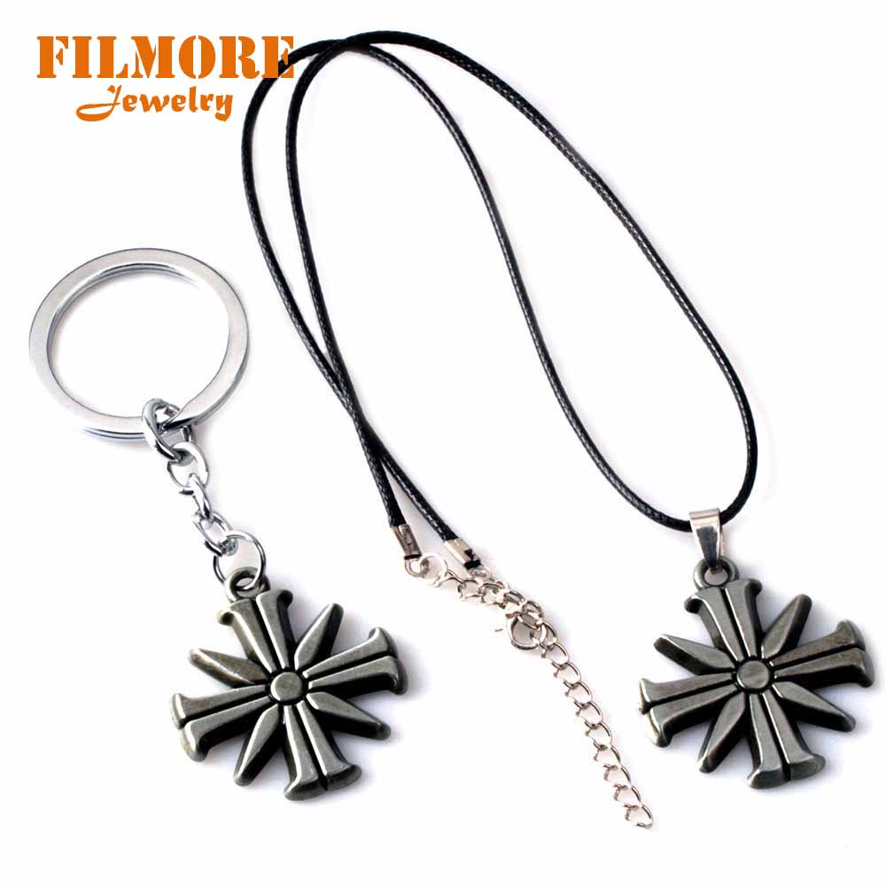 FPS Game FARCRY5 Pendant Necklace Leather Rope Men Woman Alloy Jewelry Keychain Metal Keyring Accessory Fans Gift Drop shipping