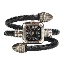 Relojes mujer  2017 Relogio Feminino  Cable Leather Braided Wrap Around Ladies Womens Bracelet Bangle Wrist Watch #June27A