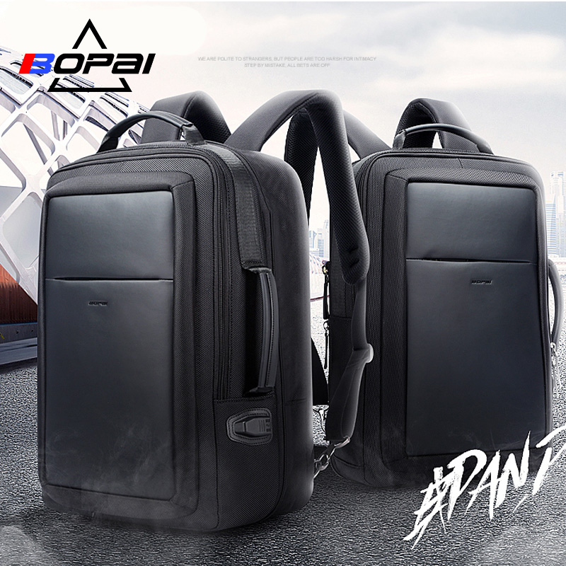 BOPAI Laptop Backpack Enlarge Anti theft Backpack USB External Charging 15.6 Inch Men Waterproof School Backpack bag Top Quality bopai laptop backpack with usb external charging port for 15 6 inch laptop men anti theft waterproof large capacity travel bag