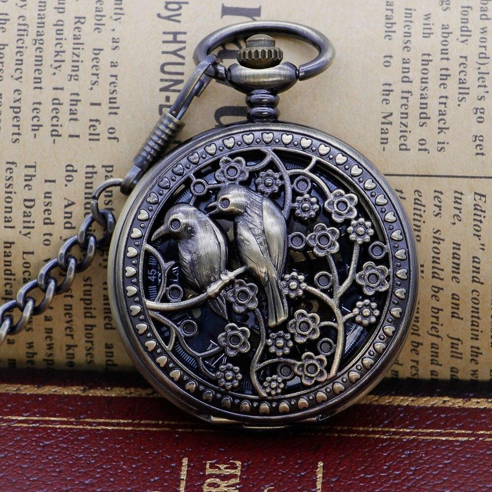Black Steel Mechanical Pocket Watch Steampunk Vintage Skeleton Couple Bird Hand Winding Mechanical Pocket Watch PJX1304