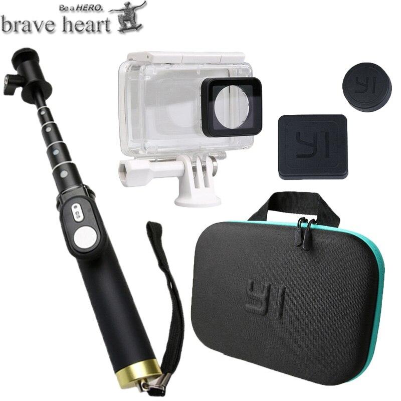brave heart waterproof case camera bag Extendable Monopod Selfie Stick for xiaomi yi 4K 2 II
