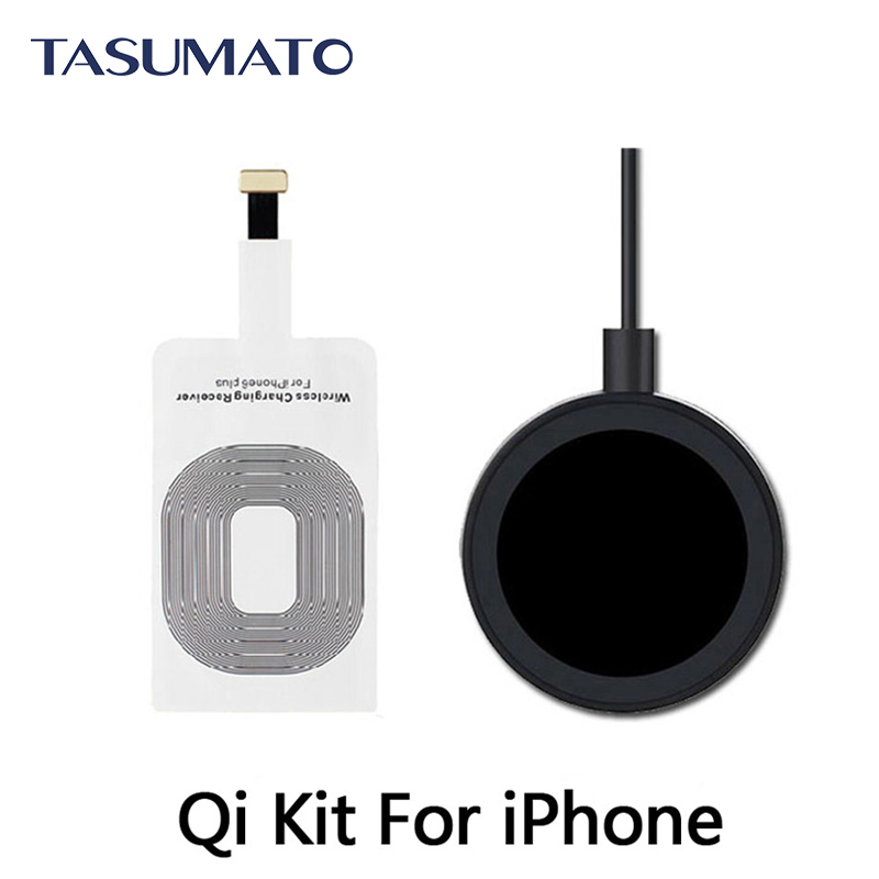 Qi Wireless Charging Kit Charger Receptor Adapter Receiver Transmitter Pad Coil For iPhone 6 7 Plus 5S 5 5C without tracking