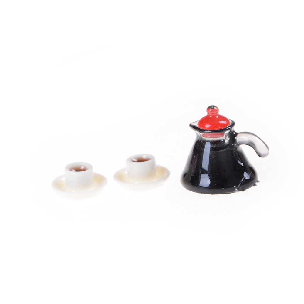 3 pcs/Set (1xcoffee pot 2xcoffee cup and saucer) Coffee Pot Cup and Saucer Dollhouse Miniature Kitchen Pretend Play Toys