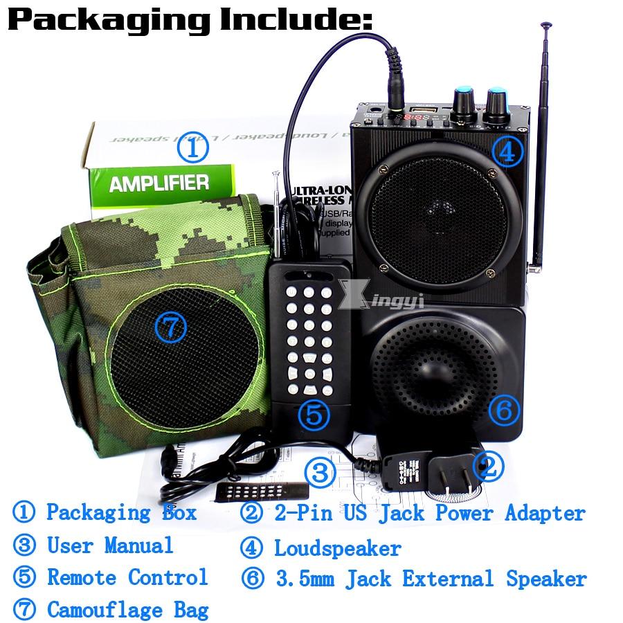 Купить с кэшбэком Q-8 48W 500m Remote Control Hunting Mp3 Bird Caller Trap Birds Sound Player Hunt Duck Decoy Equipment USB Speaker Mini Amplifier