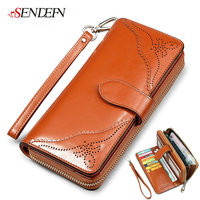 Oil Wax Cowhide Womens Wallets And Purses Female Wallets With Strap Zipper Coin Women S Purse