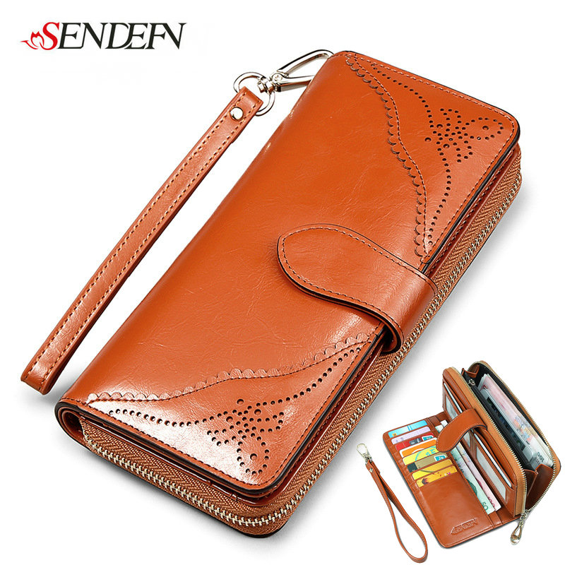 SENDEFN European Oil Wax Cowhide Leather Wallets Women Clutch Vintage Long Card Holder Phone Wallet Female Woman Wallet Leather 100% wax oil cowhide vintage wallets female money clips real leather clutch wallet for women credit cards change purses 2014 new