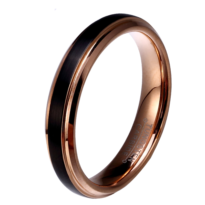 8mm 6mm 4mm Black & Rose Gold Color Tungsten Carbide Wedding Band
