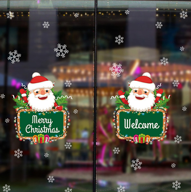 Christmas Wall Decals Removable.Us 4 99 Removable Christmas Wall Stickers Decor Santa Claus Gifts Window Glass Wall Stickers Removable Vinyl Wall Decals Xmas Supplies In Wall