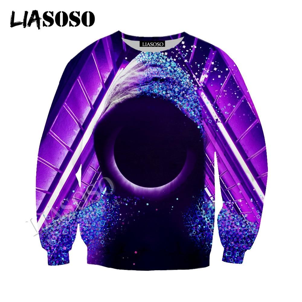 LIASOSO latest 3D printing cozy polyester sportswear creative abstract art dark black hole people men women zipper hoodie CX740