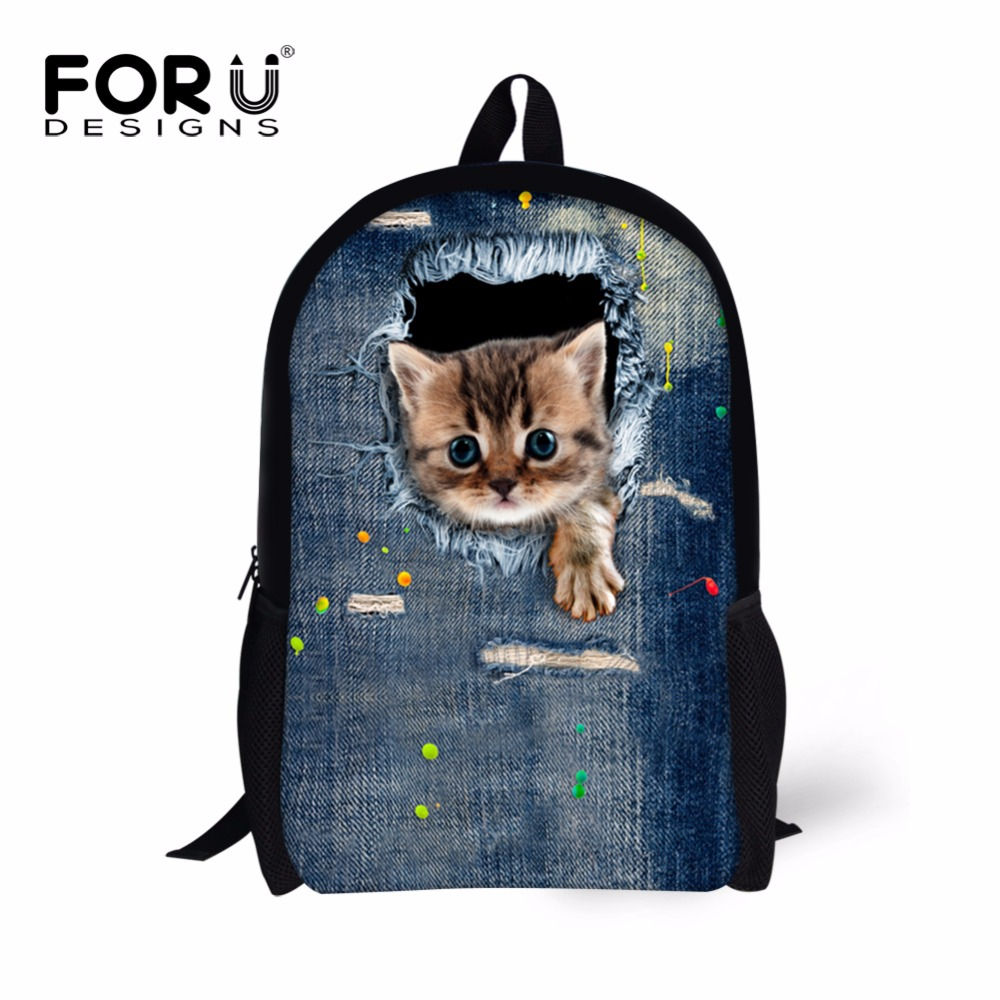 FORUDESIGNS Jeans Cute Women Men Casual Backpack Denim Cat Printing School Backpack for Teenage Boys Girls Student Bagpack Bag forudesigns 3d printing backpacks for teenager boys girls anime pokemon naruto men felt backpack casual school bagpack mochilas