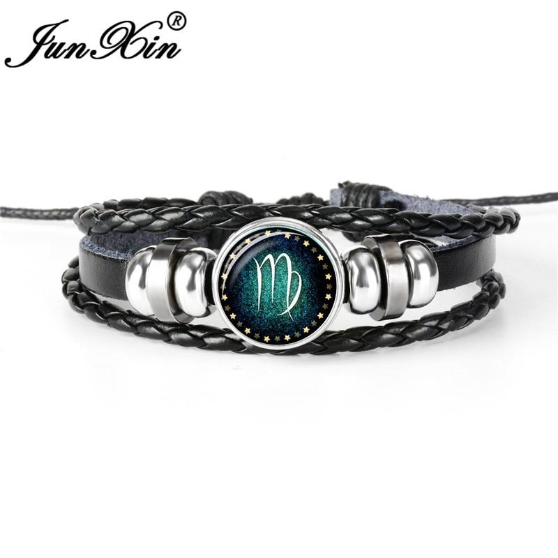 JUNXIN 12 Constellation Virgo Leo Handmade Black Woven Leather Bracelets For Men Women Round Glass Bangle Male Female Jewelry