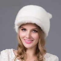 Automne et hiver chapeau de fourrure femme en cuir vison fourrure chapeau de paille chapeau dames en cuir chapeau qualité excellente qualité nouvelle DHY-15 chaude