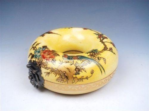 Exquise boîte à bijoux en bois jaune classique chinois collier rond peint avec des fleurs d'oiseaux fleurs de prunier avec serrure en laiton