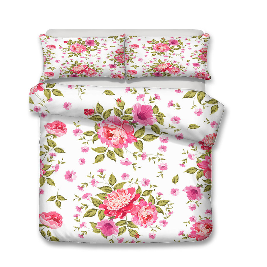 Image 2 - A Bedding Set 3D Printed Duvet Cover Bed Set Flowers Plant Home Textiles for Adults Bedclothes with Pillowcase #XH07-in Bedding Sets from Home & Garden