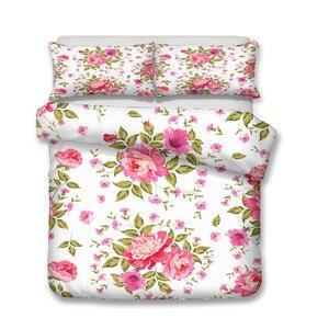 Image 2 - Juego de cama con estampado 3D de edredón, juego de cama Textiles para el hogar para adultos con flores, ropa de cama con funda de almohada # XH07