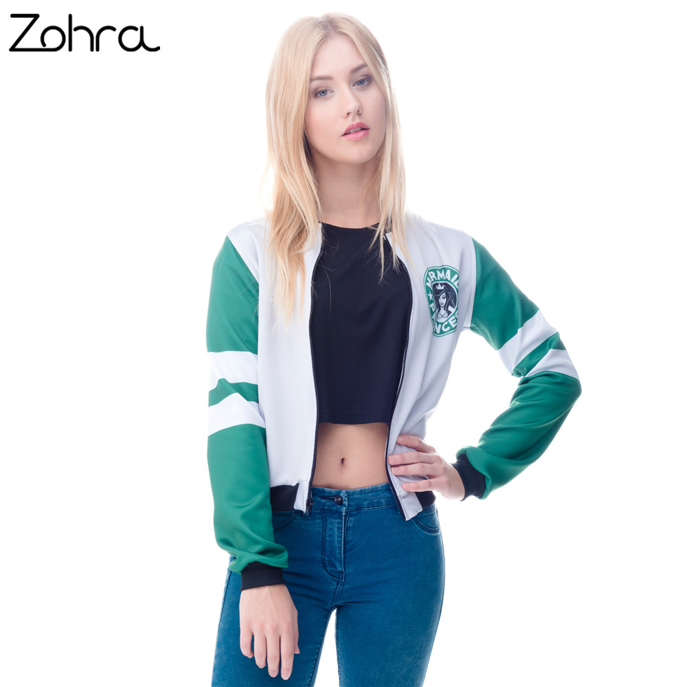 Zohra Winter Autumn Womens Bomber Jacket 3D Printed Mermaid Princess Outwear Sexy Short Jacket Coats Casual Basic Jackets