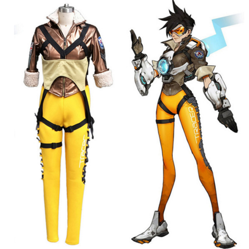 Popular game OW cosplay Lena Oxton Tracer suit soldier 76 Tracer cosplay costume tracer lena oxton costume cosplay yellow suit game uniform female yellow version halloween christmas adult women custom made