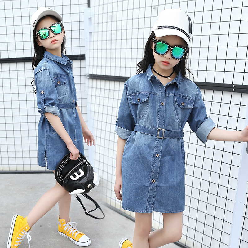 New Spring Autumn Girls All-match Denim Jackets Girl Denim Coats Kids Trench for Girl Long Jackets Children Clothing with Belt